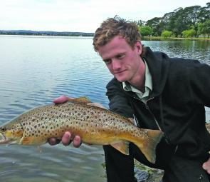 Cam Griffin with a terrific Wendouree brown trout.