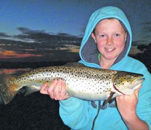 Ben Jeffery with a cracking Hepburn Lagoon brown trout.