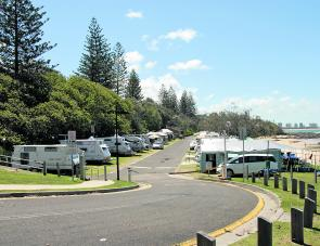Camping right by the water is a great aspect of a stay at the Mooloolaba Beach Holiday Park on the Esplanade.
