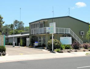The Mooloolaba Beach Holiday Park entrance in Parkyn Parade Mooloolaba is almost directly opposite Underwater World.