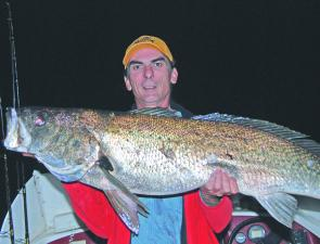 The author with a solid jewfish caught off Norah Head after dark. Although not a lot of jewies have been caught in recent months, some of the bigger fish are more likely in Winter.