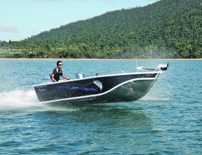 The Formosa 500 Barra opening up. This great riding hull is dry and sits well in the water.