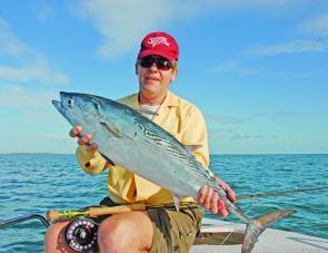 Fish like this one held by the author are very good sport on the fly rod.
