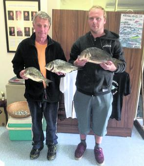 Peter Clarke and Sean Thompson with quality perch caught near Wonthaggi on Bass yabbies.