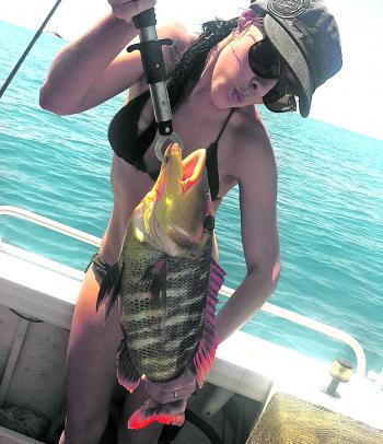 Jenna Gibbs-Jones with a nice redthroat emperor from High Peak Island.