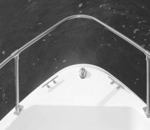 The anchoring system is unusual, with two horn cleats fitted either side of the nav lights, which are mounted where the bow roller would normally be fitted.