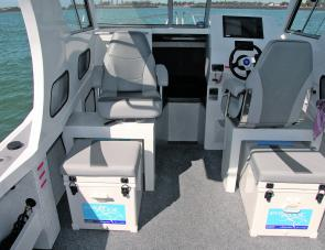 Seating options include incorporating big ice boxes, which is a smart set up for an offshore orientated craft.