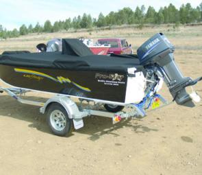 A full cover and bimini top are standard on the 435 Stinger.