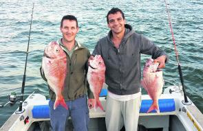 Ben Black and Jade Christie caught these beautiful snapper using pilchards during the last hour of the run-out tide.