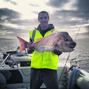 What a photo! Adrian Gruendler caught this massive snapper measuring 87cm.