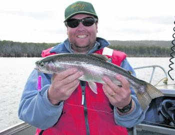A nice 750g Lake Echo rainbow trout on #55 Tassie Devil.
