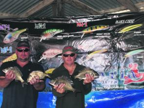 Dean Truman and Sean Kennedy display some of the bream that scored them the Maria Lures Best Bag on day one.