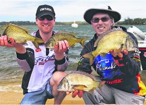 Patrick Sullivan and Leigh McKenzie with some of the awesome bream to be found in Georges Bay. As winter arrives the best spots to focus on will be Ansons Bay and the Scamander River.