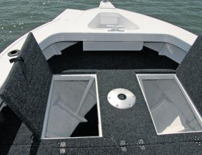 There's ample storage below the casting deck and wide hatches for easy access.