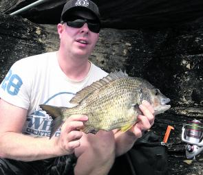 John Halford with a whopping 46cm bream, which was released. Five minutes after this photo was taken, he hooked an even bigger fish, which was lost.