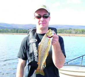 An average Lake Wartook brown trout caught on a minnow lure cast from a drifting boat.