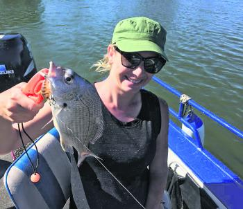 Kelly with a nice bream from the Hastings.