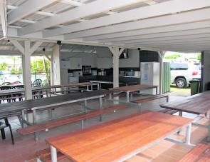 A particularly well-appointed camp kitchen is on hand at Kurimine Beach Caravan Park.