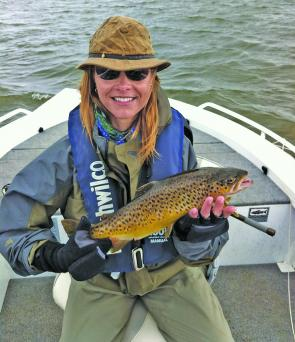 Anna Taylor with a terrific Lake Wendouree brown trout. Photo courtesy Chris Doody.