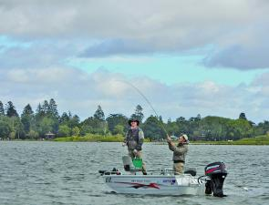 Fishing action on Lake Wendouree in the recent Two Fly competition. Photo courtesy Chris Doody