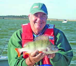 Brian Rivett with another cracking Lake Tooliorook redfin perch.