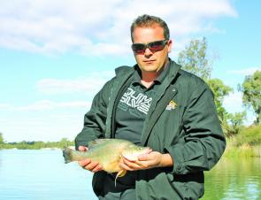Mildura local Chris displays one of several golden perch taken on bait recently.