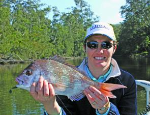 Cherrie Climax caught this kilo snapper under a feeding school of salmon in Wagonga Inlet.