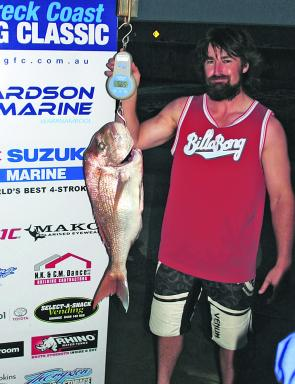 Matt Cook with a 5.6kg quality snapper caught during the Shipwreck Coast Fishing Classic.