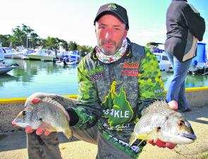Champion non-boater Troy Hamilton made the trip from Victoria to fish the Ecogear Bribie Island BREAM Qualifier.