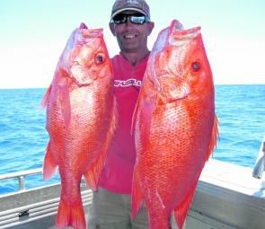 Terry Savage with a pair of scarlets caught while on board the Keely Rose.