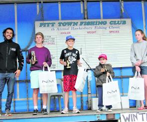 Junior winners Shane Adorini (1st), Lachlan Beasley (2nd), Nicholas Pipitone (3rd), Hayley Langley (mystery prize).