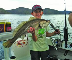 Keen angler Lachlan, 8, landed this beautiful 65cm jewie on a live yellowtail while fishing with dad, Steve, at Brooklyn.