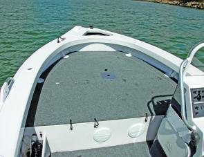The forward cast deck of the TABS offered storage space plus a handy work area for anglers.