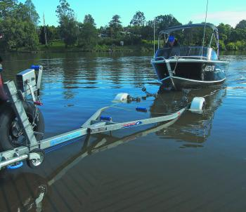 The self-centring rollers on the galvanized, braked, multi-roller Brooker trailer make launching and retrieving easy – so long as you don't come in too fast! I like to sink my trailer, as it means that I can drive on the boat by myself. Remember to give t