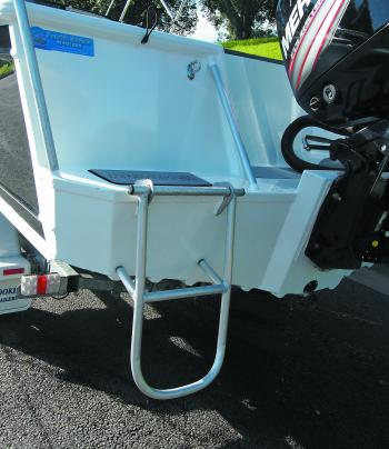 The fold down/up aluminium ladder gives you easy access when the boat is on the trailer, or when you want a swim.