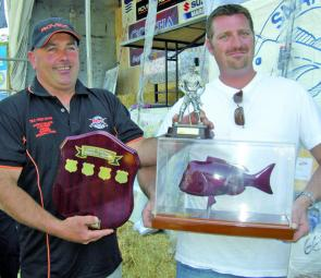Heaviest Fish winner and new Victorian Snapper Champion, Allen Rayner, receives his trophies from Snapper Point Angling Club president Greg Nixon.