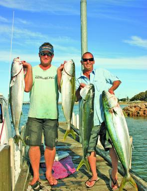 Jason Unsworth and Jay Furniss with some cracking peninsula kingfish. Does it get any better?
