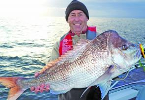 "Paul Burke bagged this snapper just off Lighthouse Beach on a 5"" Jerkshad in curry chicken colour."