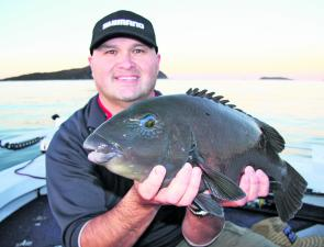 The calm days of Spring are ideal to target groper from rocks or, for that matter, from a boat. Fred from Shimano displays an average groper while fishing the washes.
