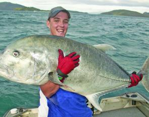 A large GT caught on a Nomad Ulua stickbait in the Whitsundays.