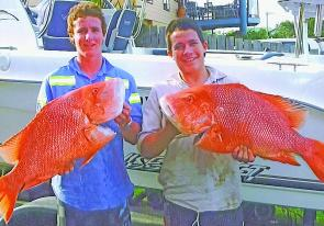 Brandon and Cameron Gillet show of reds caught off North West Reef.