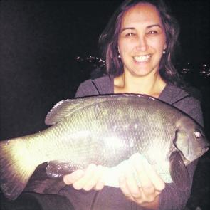 Katrina Grigg with her PB rock blackfish, a 2kg pig caught at night at North Harbour.