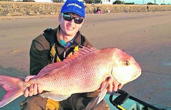 Lachie Allen with a beautiful Tooradin snapper from his kayak.