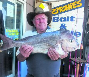 John Brewer with a 4kg snapper caught while bream fishing off the Harrington breakwall.