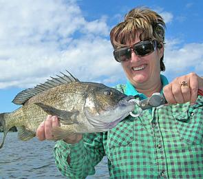 You can expect large bream this May, like this 45cm fish caught by Barb Strickland.