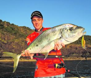 This solid tea leaf trevally was caught on a 1.5oz TT Switchblade HD.
