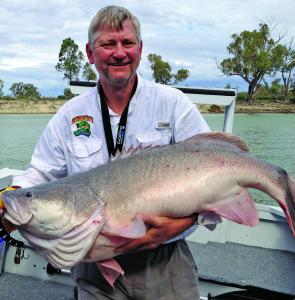 Anthony Curtis with one of the prime targets for his AC Lures – a big Murray cod!