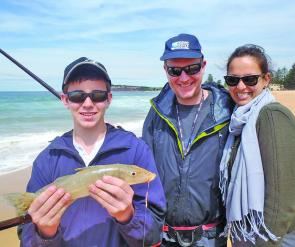 Daniel Scott with a great 42cm whiting with Dad Sean and partner Kristina.