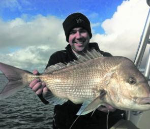 Josh Fields with his 5.41kg winter snapper.