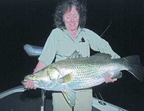 Helen Smith from Canada with her first barra that measured 106cm.
